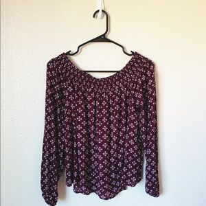 Off the Shoulder Maroon Pattern Blouse (Aero)